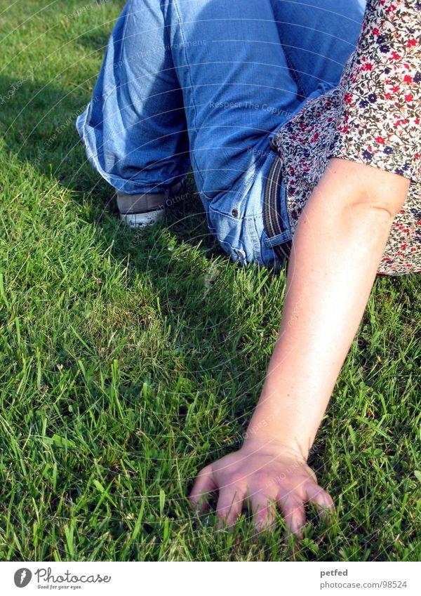Human being Nature Hand Sun Flower Green Blue Summer Joy Calm Relaxation Grass Spring Gray Footwear Arm