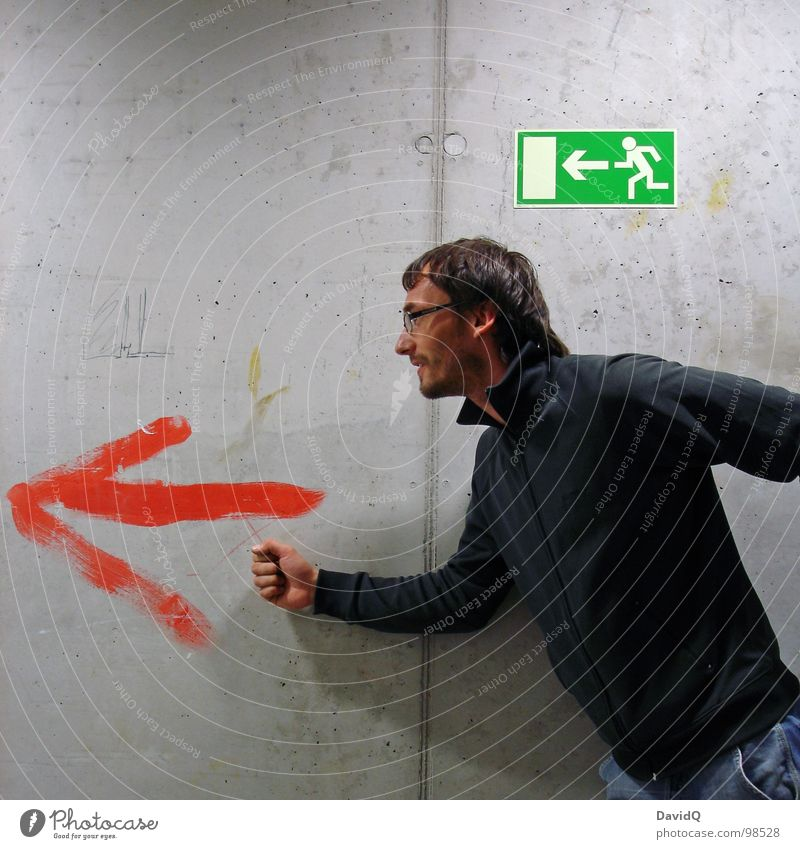 Man Green Walking Concrete Running Dangerous Signage Guy Hallway Escape Road marking Way out Placed Flee Emergency exit Escape route