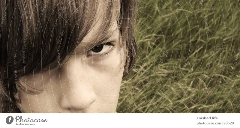 Child Youth (Young adults) Face Eyes Grass Hair and hairstyles Nose Ear Anger Blade of grass Aggravation Sepia