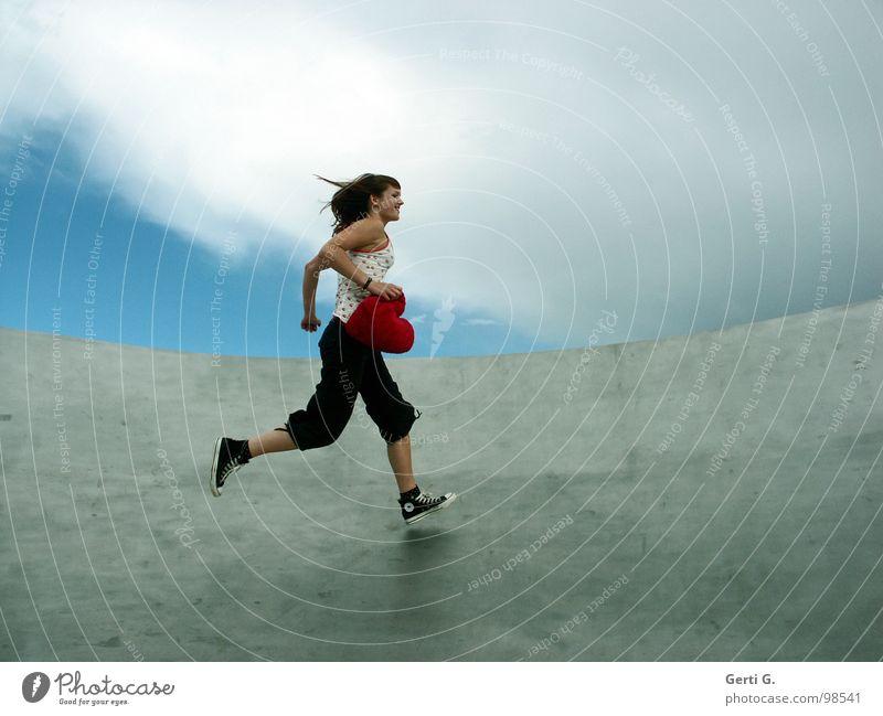 Woman Sky Blue Red Joy Clouds Love Gray Movement Happy Healthy Wind Footwear Heart Walking Speed