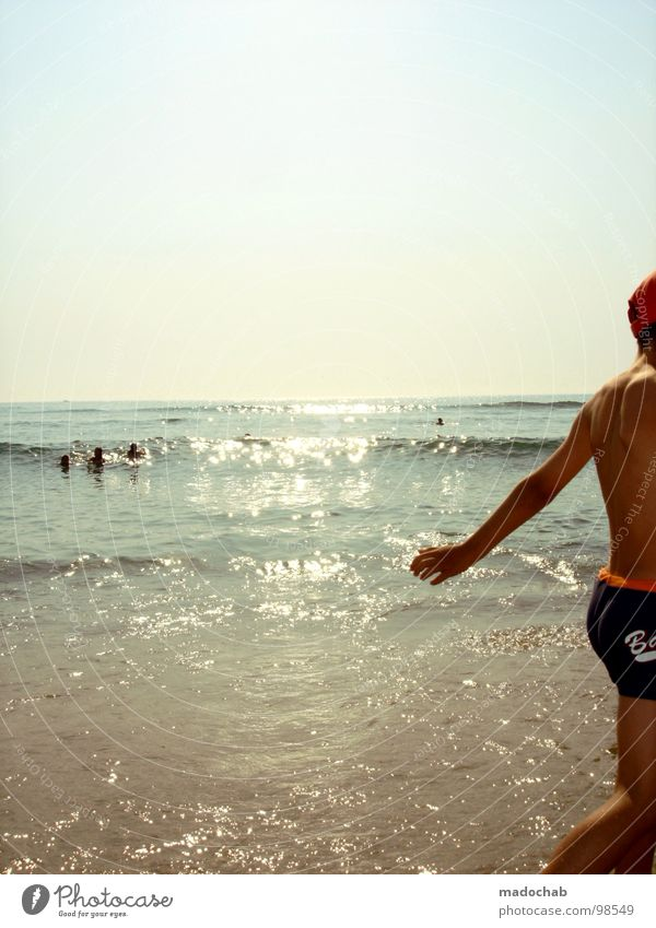 Human being Man Sky Sun Ocean Summer Joy Beach Vacation & Travel Relaxation Jump Legs Dance Funny Skin Arm