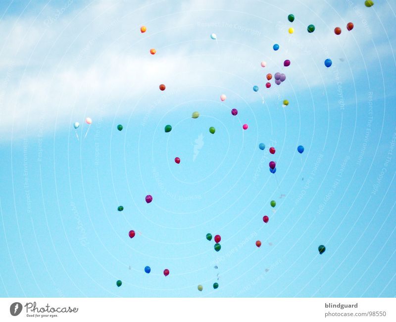 Sky Blue Green Colour Red Clouds Yellow Freedom Flying Dream Wind Hope Balloon Grief Desire