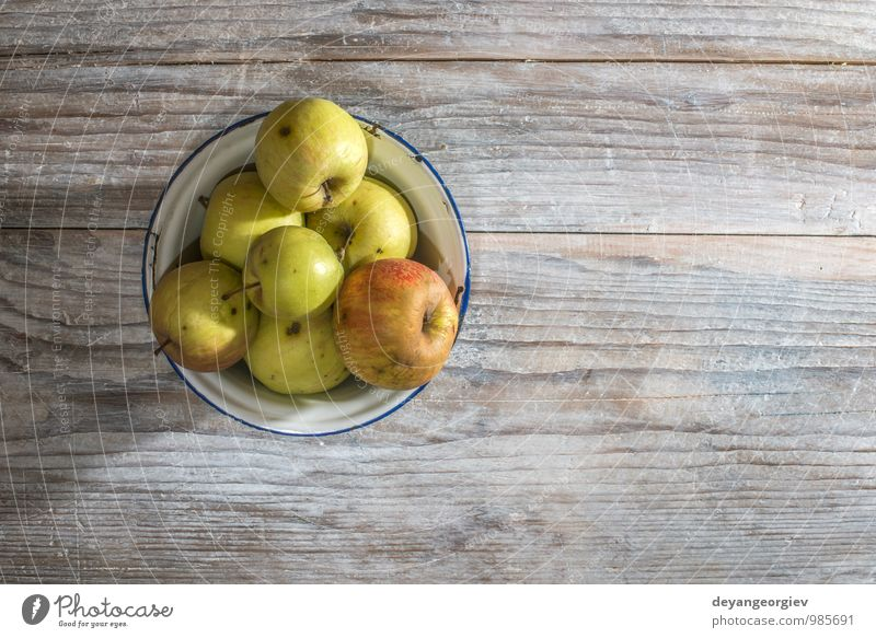 Apples in vintage metal cup on wooden table Fruit Diet Table Thanksgiving Nature Autumn Old Fresh Delicious Natural Juicy Red food Basket fall background