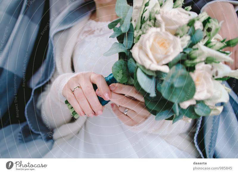 the day and flowers Elegant Style Joy Feasts & Celebrations Wedding Feminine Partner Hand Fingers Plant Flower Rose Leaf Wedding dress Ring wedding ring
