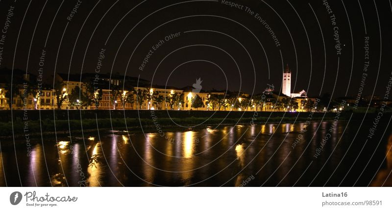 Sleepless in Verona Dark Night Light Reflection Church spire Evening Italy Europe Town Architecture River Water Religion and faith Vacation & Travel