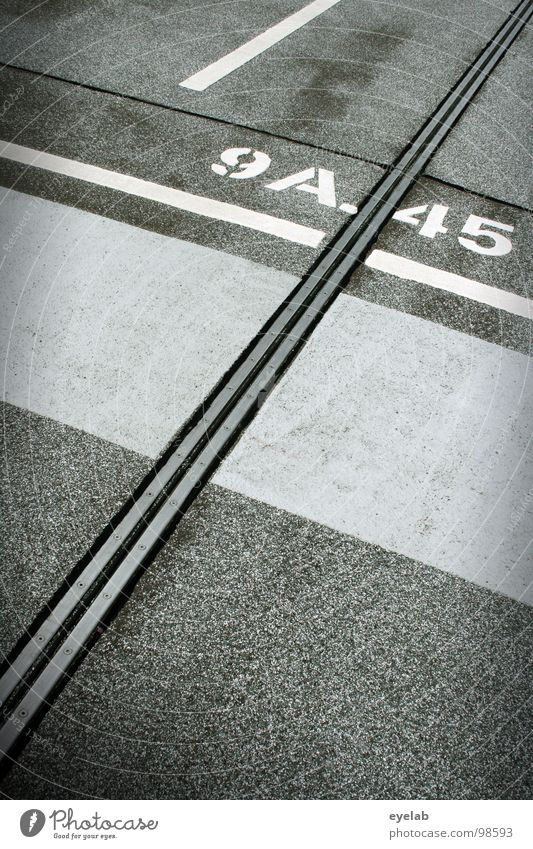 White Gray Line Places Concrete Transport Modern Characters Empty New Stripe Round Digits and numbers Motor vehicle Traffic infrastructure Typography