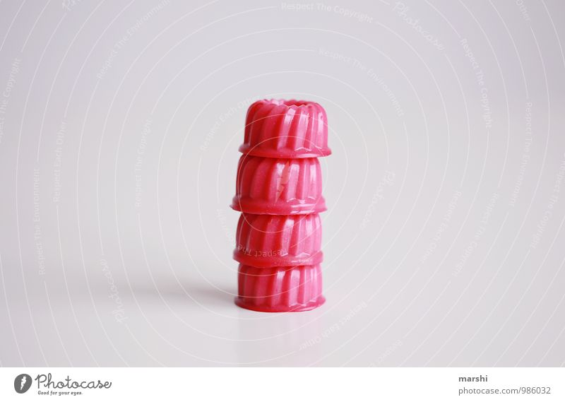 you don't play with food... Food Dessert Candy Nutrition Eating Pink Rich in calories Jelly Beautiful Stack 4 Colour photo Interior shot Studio shot Detail