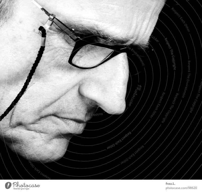Man Face Eyeglasses Reading 50 plus Wrinkles String Concentrate Magazine Earnest Demanding Print media Reading glasses