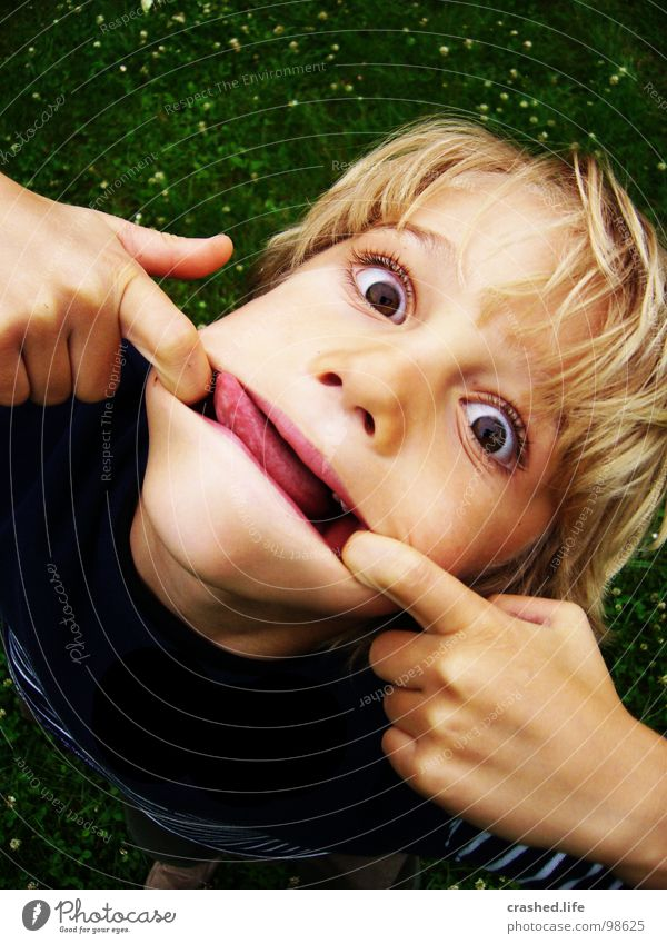 Bäääh Evil Hand Blonde Grass Green Dark Child Brash Tongue Mouth Eyes Hair and hairstyles Bright Face sweatshirt Garden Lucas