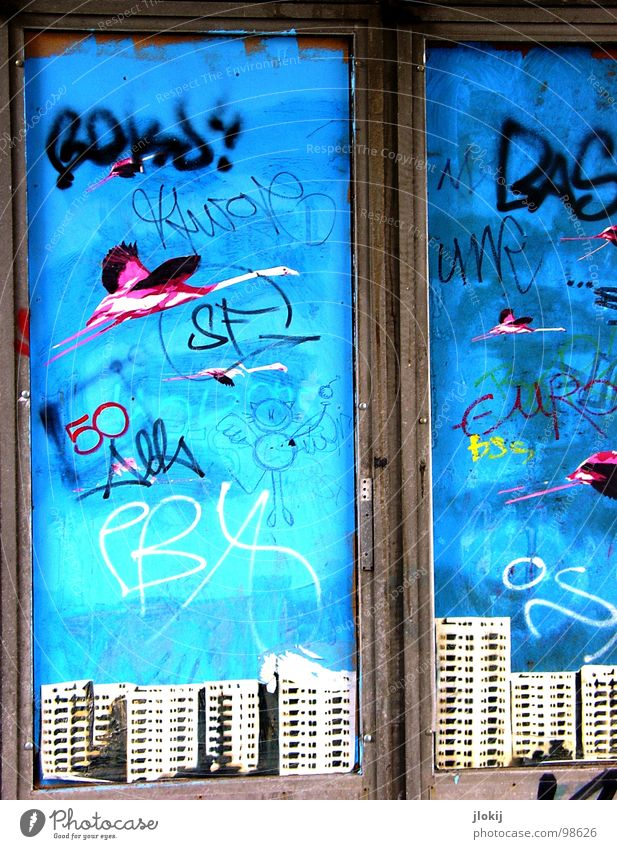 White Blue City House (Residential Structure) Black Far-off places Colour Window Graffiti Bird Metal Art High-rise Perspective Dangerous Open