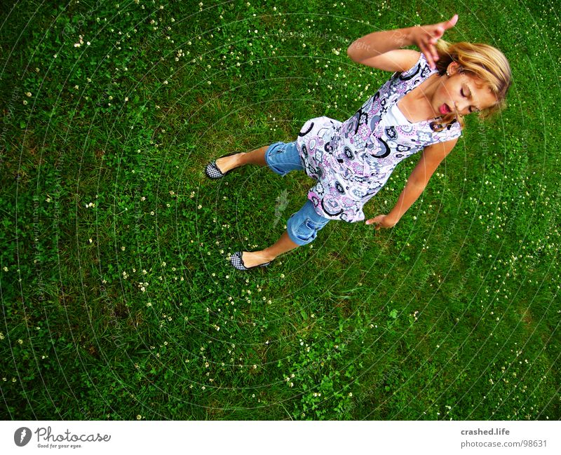 No kidding, yo! Ballet Blonde Hand Grass Grass green Green Youth (Young adults) man Old Janina Hair and hairstyles Mouth face Ballerina