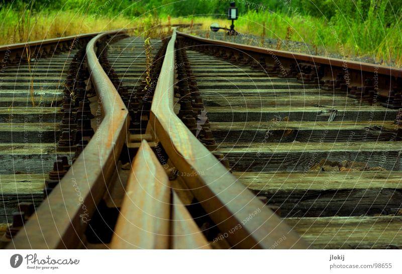 Hazard Railroad tracks Driveway Wood Steel Tracks Driving Speed Progress Wooden board Gravel Transport Railroad tie Bed Silhouette Restoration Future Kilometer