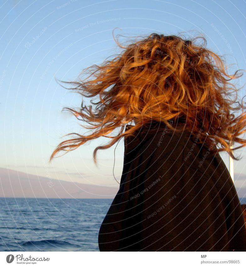 Woman Water Ocean Hair and hairstyles Head Wind Curl Rotation Swirl Beast