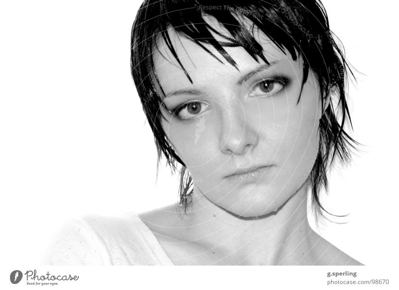 Elizaveta Woman Wet Grief Delicate Trust Water Face potrait Tears Black & white photo Sadness Looking Eyes Hair and hairstyles