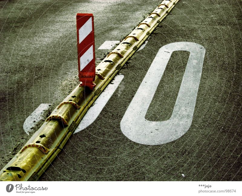 Road traffic Birthday Transport Speed Construction site Digits and numbers Asphalt Sidewalk Traffic infrastructure 30 Barrier Divide Caution Street sign Laws and Regulations Barred