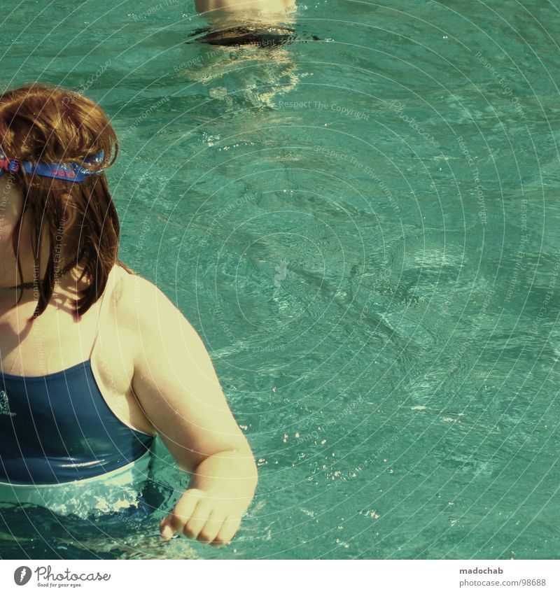 THIN CHILD Girl Child Youth (Young adults) Red Red-haired Retro trash Swimming pool Hand Swimsuit Wet Seventies Human being girl overweight teases fat sack pot