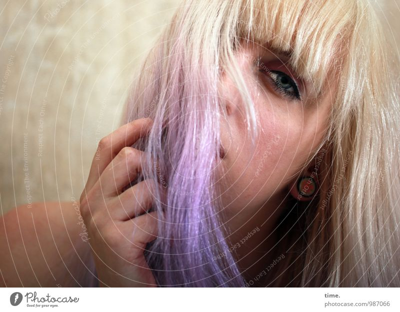 . Feminine Young woman Youth (Young adults) 1 Human being Blonde Long-haired Bangs Punk Observe Communicate Looking Dream Beautiful Naked Rebellious Emotions