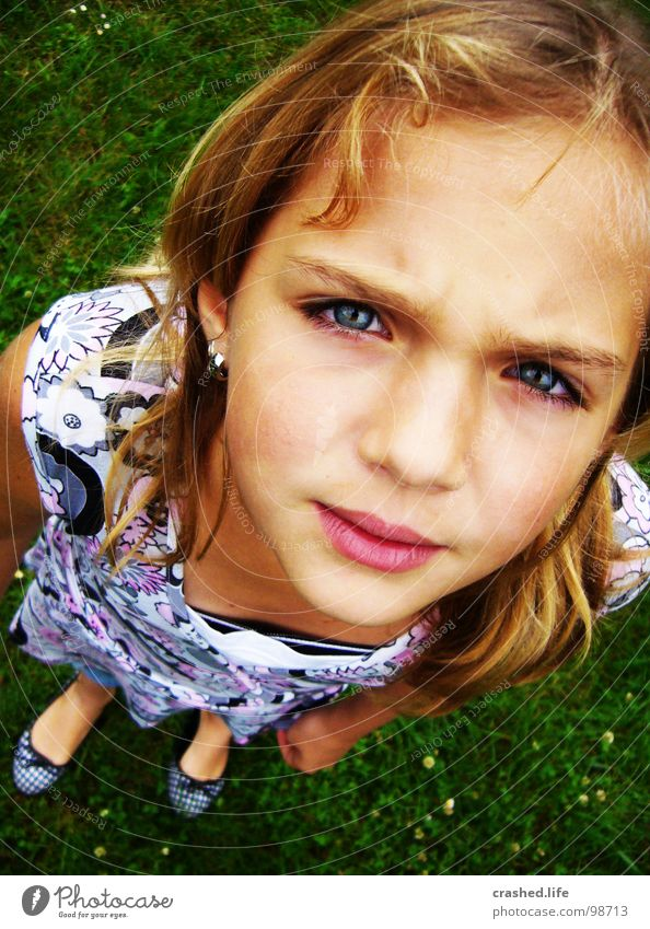 Hööö? Curl Blonde Girl Dress Grass Green Grass green Child Youth (Young adults) Mouth Face nose eyes Hair and hairstyles Ballerina