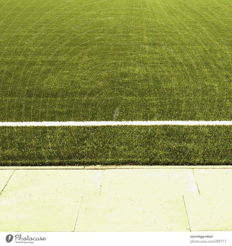 sideways Playing field Artificial lawn Fringe zone Green Section of image Square Sporting grounds Edge Deserted Ball sports Soccer plate covering
