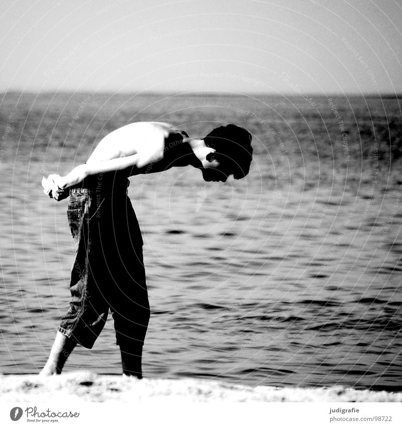 The Stone Seeker Man Beach Search Ocean Lake Gray Crooked Posture Unhealthy Mussel Vacation & Travel Horizon Black White Environment Black & white photo Coast