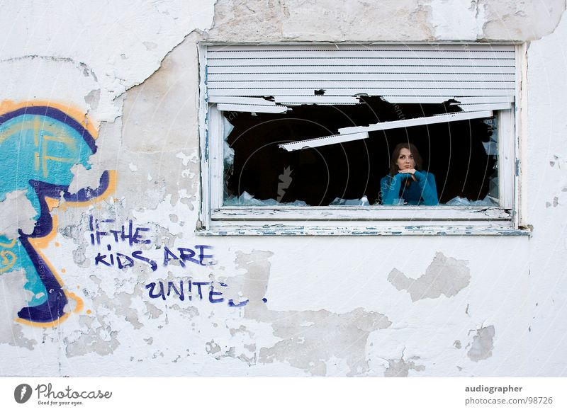 Woman Blue White Black House (Residential Structure) Relaxation Window Wall (building) Graffiti Gray Sadness Think Art Orange Poverty Broken