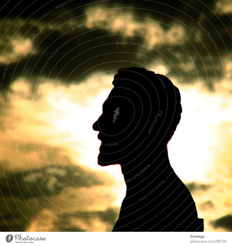 Man Sky Sun Calm Black Clouds Yellow Head Stone Warmth Speed Sit Physics Infinity Mysterious Paris