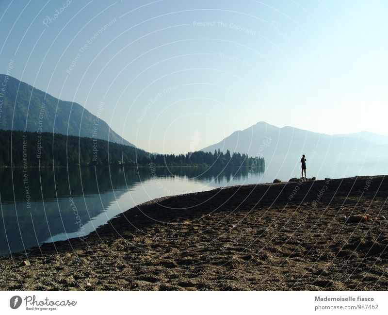 Dawn on the lake shore in the mountains Lakeside Mountain Trip Freedom Summer Hiking 1 Human being Landscape Nature Sand Water Beautiful weather Forest