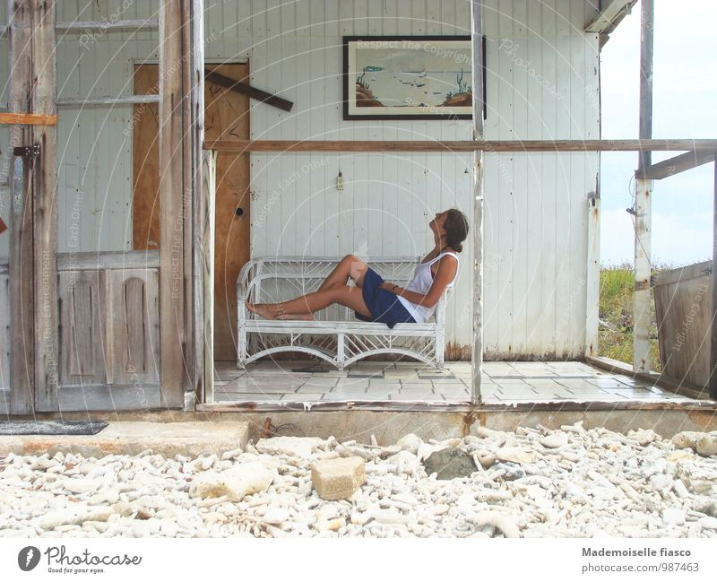 Human being Vacation & Travel Youth (Young adults) Old White Summer Young woman Relaxation Calm House (Residential Structure) Beach Feminine Wood Stone Sand