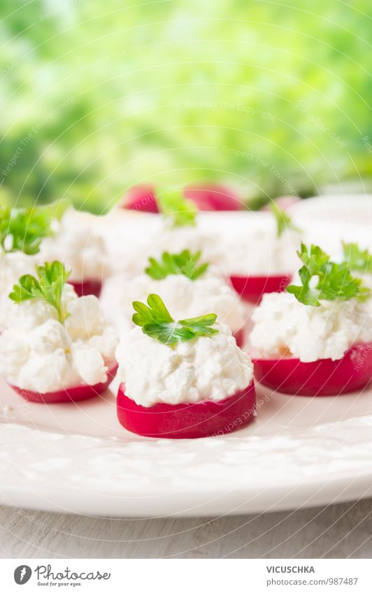 Radish snacks with cream cheese in the garden Food Cheese Dairy Products Vegetable Herbs and spices Nutrition Breakfast Lunch Picnic Organic produce