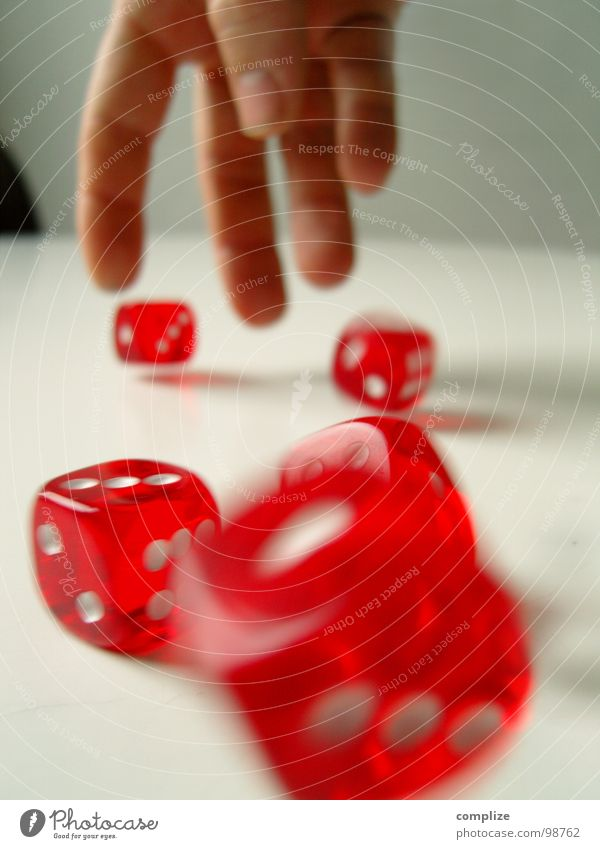 Hand White Red Playing Happy Dice Success Digits and numbers Brave Risk Throw Disaster Carriage Expenditure Game of chance Throw dice