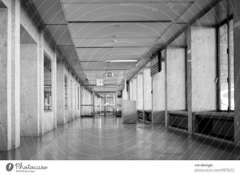 deserted corridor of the Tempelhof airport building Tempelhof Airport Berlin Corridor Hallway Gray Gloomy Airport Berlin-Tempelhof central airport Copy Space