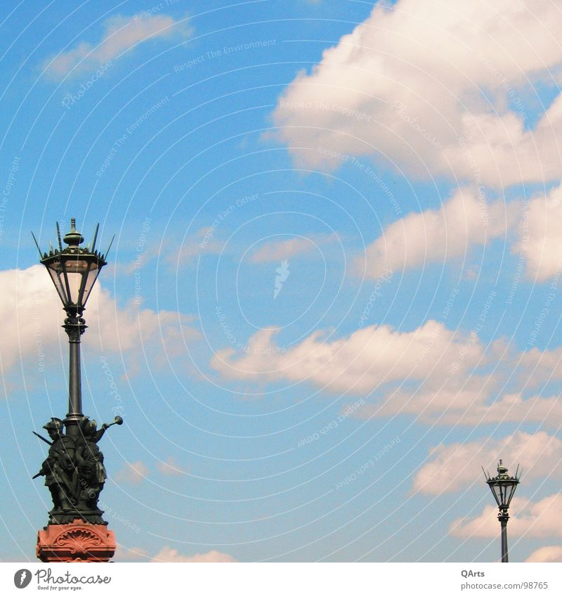 Sky over Berlin I - Lanterns Street lighting Lamp Clouds White Bridge Light Blue Moltke bridge Freedom Middle Flying