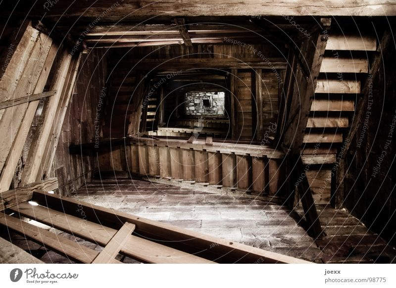 Dark Wood Fear Stairs Tower To fall Derelict Historic Deep Ladder Handrail Panic Downward Go up