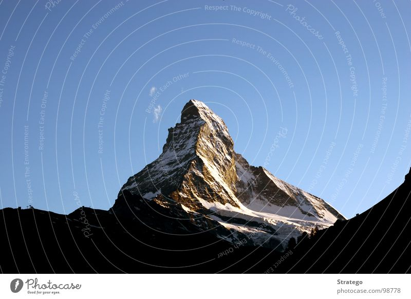 Matterhorn IV Zermatt Canton Wallis Switzerland Peak Mountain range Mountaineer Hiking Abseil Go up Mountain hiking Mountain ridge Clouds Might Sublime Large