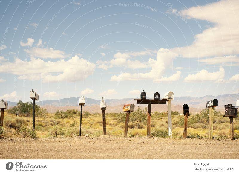 box Street Lanes & trails Uniqueness Calm Mailbox Landscape USA Route 66 Desert Warmth Colour photo Exterior shot Deserted Sunlight