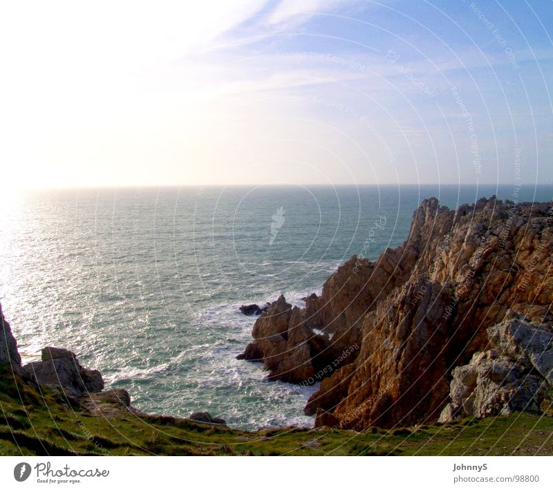 Ocean Beach Waves Coast Rock France Bay Surf Cliff Brittany