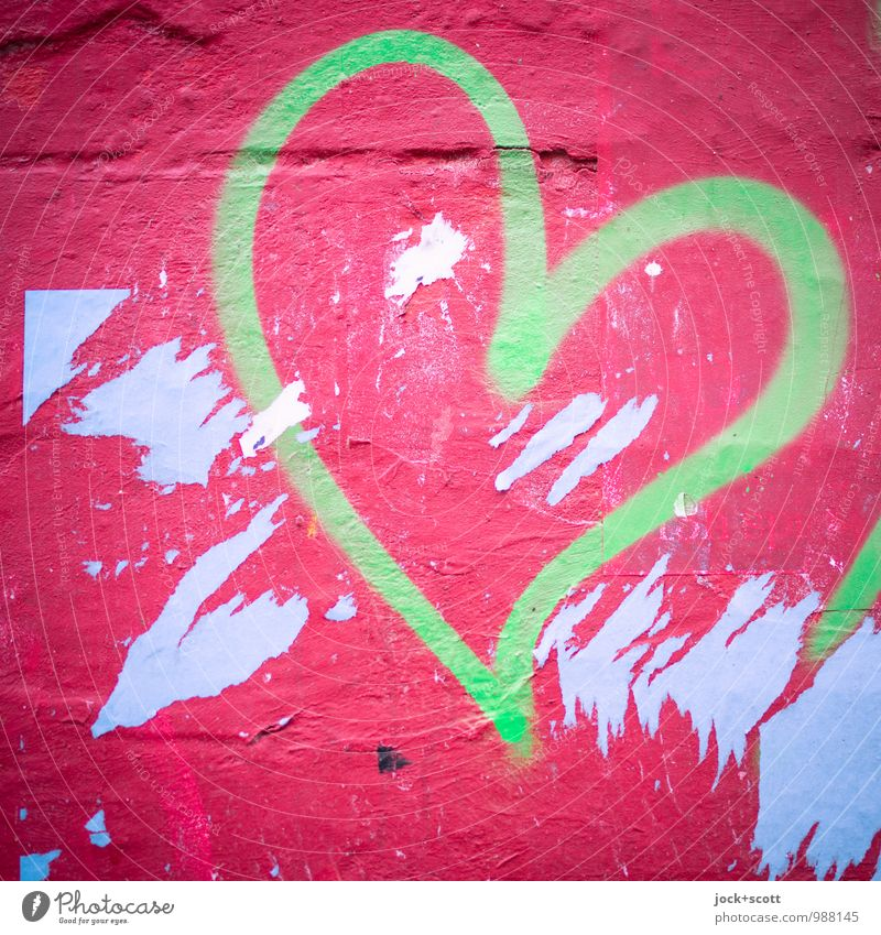 Green and red a heart Design Street art Graffiti Love Simple Happiness Trashy Longing Inspiration Creativity Joie de vivre (Vitality) Billboard Scrap Curved