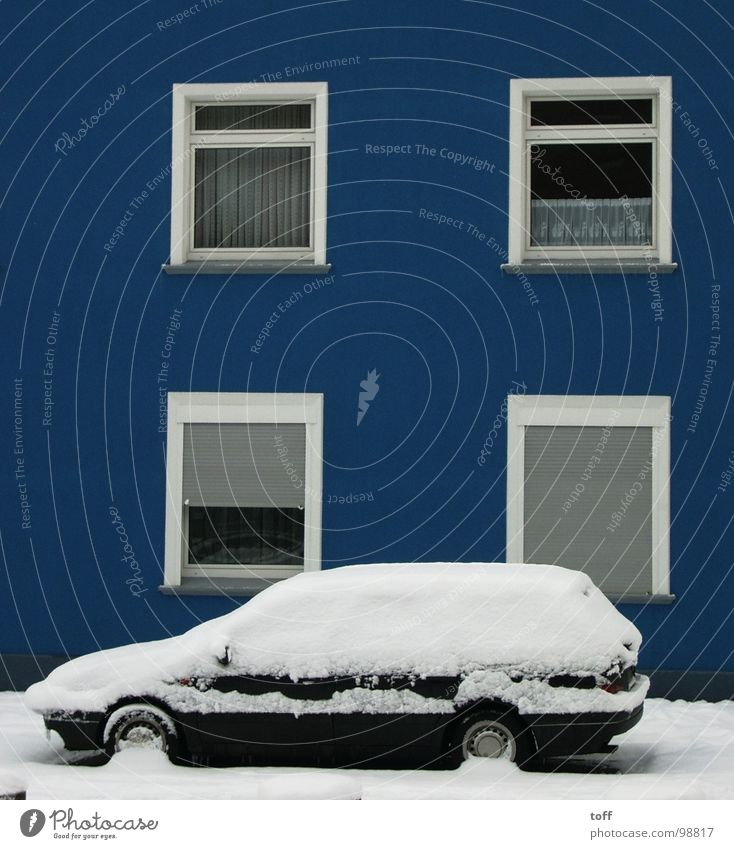 White Blue Winter House (Residential Structure) Cold Snow Window Car