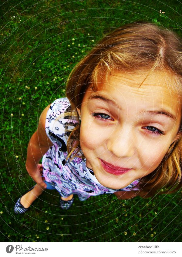 Child Youth (Young adults) Green Joy Eyes Hair and hairstyles Grass Funny Blonde Mouth Nose Dress Grass green Ballerina