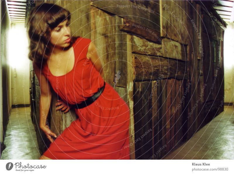Woman Youth (Young adults) Red House (Residential Structure) Room Fear Corner Dress Panic