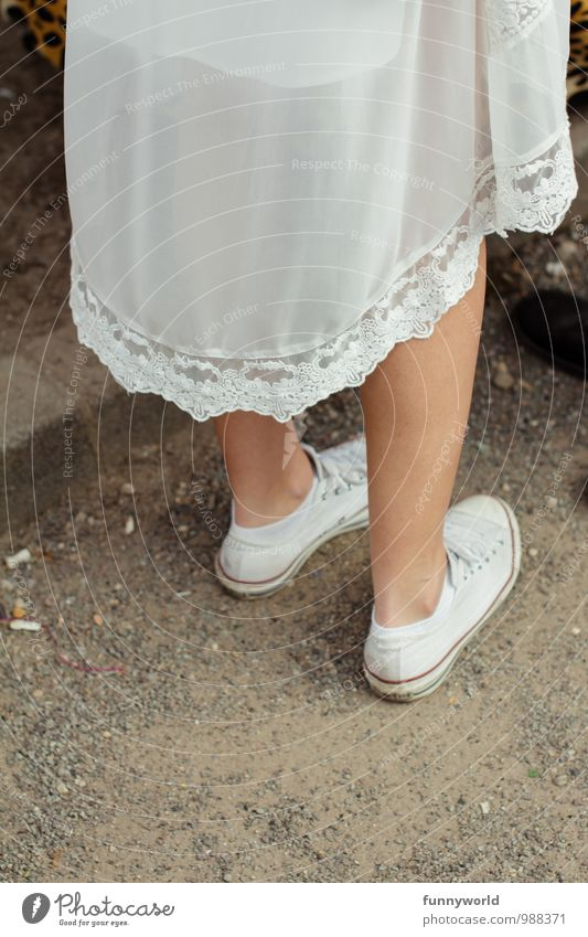 Ghost with Chuckys Legs Feet 1 Human being Fashion Skirt Dress Night dress Footwear Sneakers Chucks Stand Hip & trendy Uniqueness Hipster Lace Transparent White