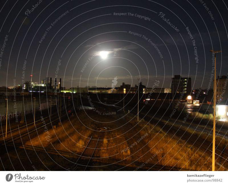 Sky Clouds Berlin Grass High-rise Bridge Railroad tracks Lantern Moon Night Full  moon