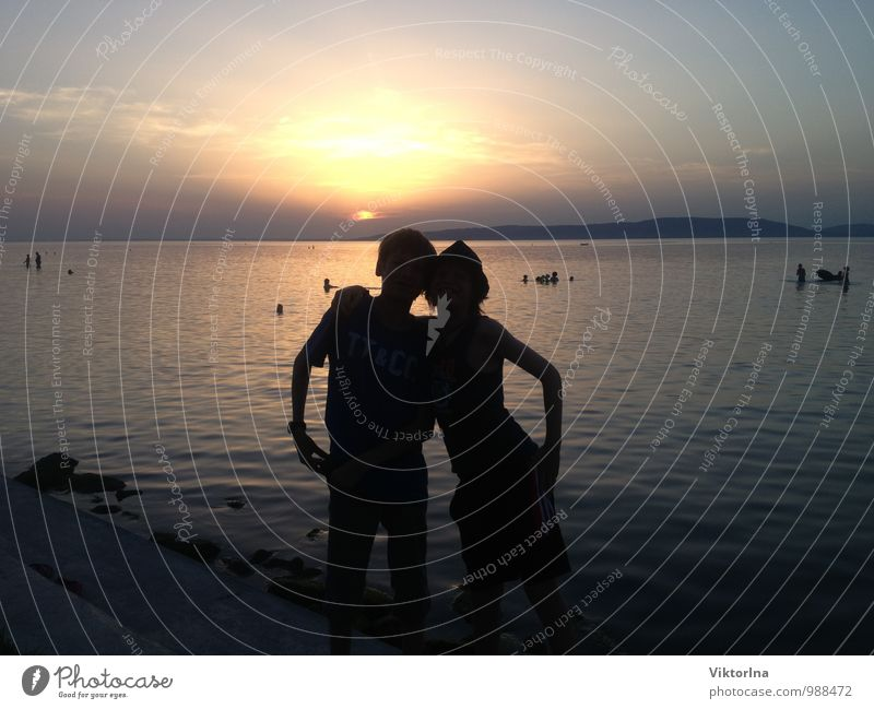 Human being Child Nature Youth (Young adults) Water Summer Sun Beach Love Happy Swimming & Bathing Lake Moody Couple Friendship Together