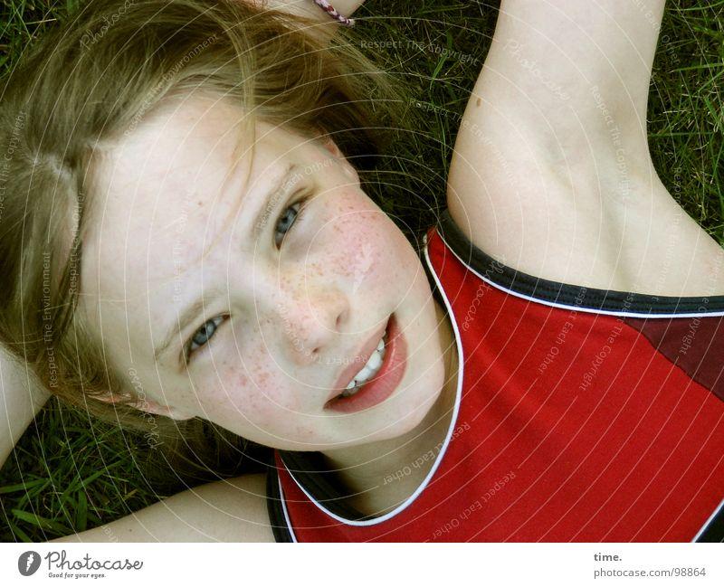 Beautiful Girl Joy Eyes Relaxation Meadow Head Laughter Garden Contentment Blonde Lie T-shirt Trust Child Interlock