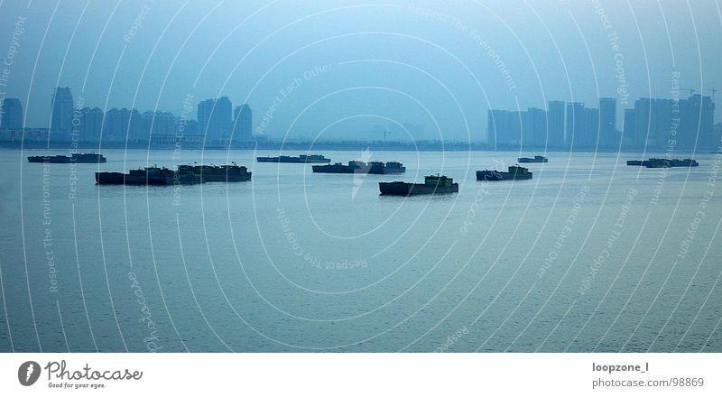 Blue Dark Watercraft High-rise Bridge River Asia China Hangzhou