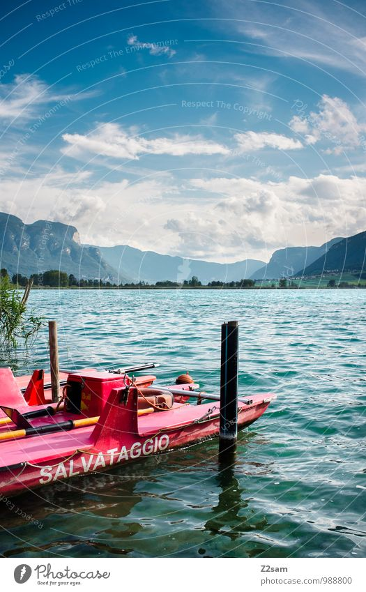 baywatch Environment Nature Landscape Sky Clouds Summer Beautiful weather Bushes Alps Mountain Lakeside Boating trip Rowboat sea watch Fresh Cold Sustainability
