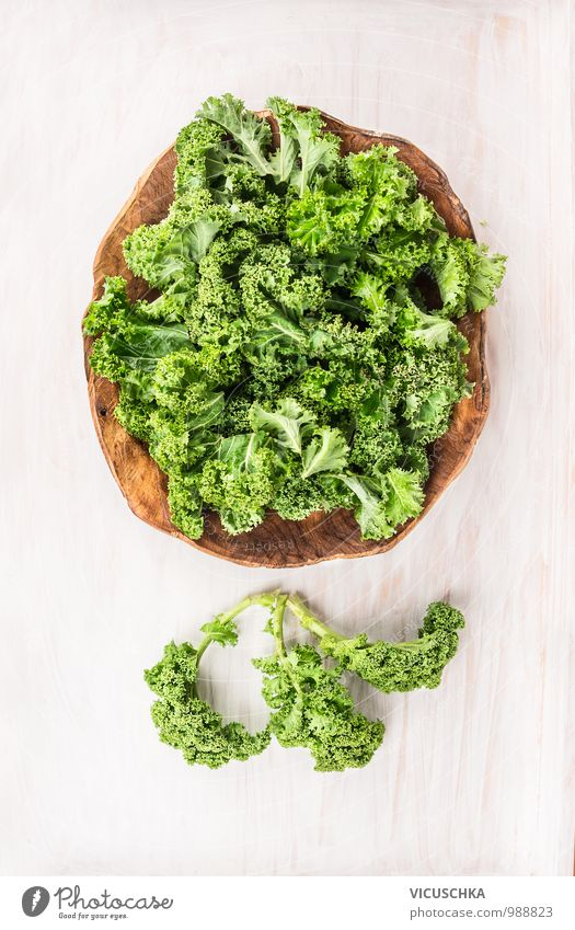 Green cabbage in wooden bowl Food Vegetable Nutrition Banquet Bowl Style Design Winter Garden Kitchen Tradition Kale Kale leaf Cooking Food photograph