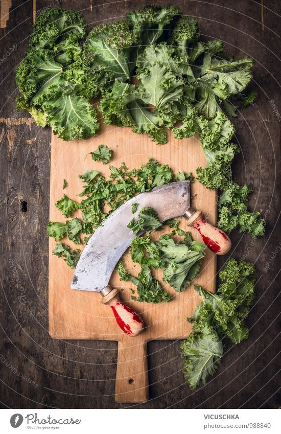 Chop green cabbage with an old chopping knife Food Vegetable Lettuce Salad Style Design Nature Kale Old chopping knives herb knife Rustic Chopping board