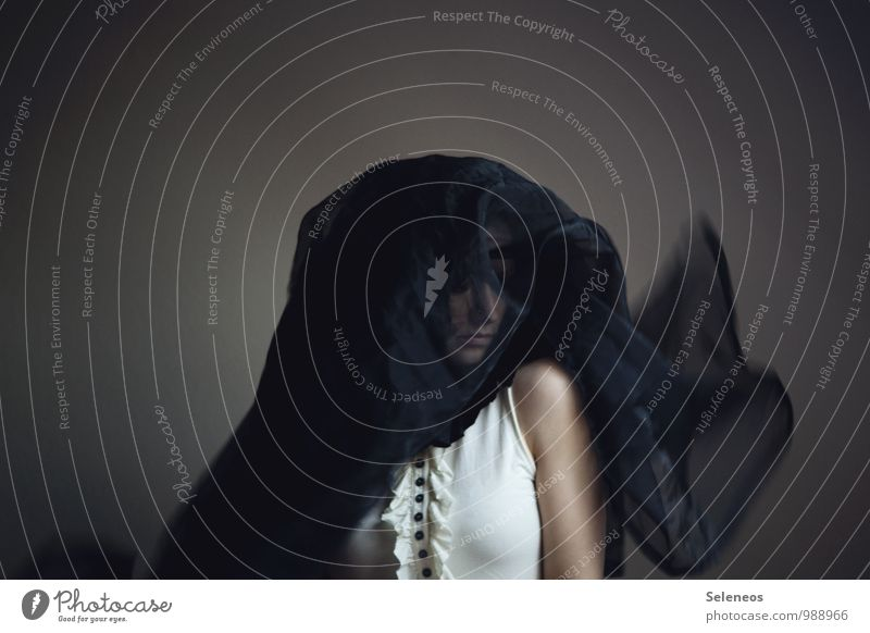 mourn Human being Feminine Woman Adults Head 1 Dark Sadness Grief Pain Loneliness Colour photo Subdued colour Interior shot Motion blur Portrait photograph