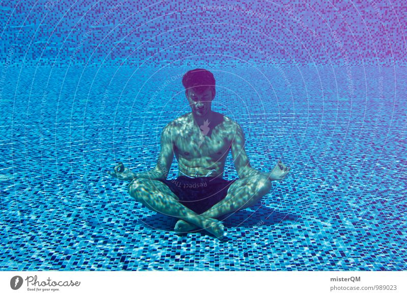 Vacation & Travel Man Blue Relaxation Calm Religion and faith Art Contentment Energy Esthetic Floor covering Wellness Swimming pool Meditation Motionless